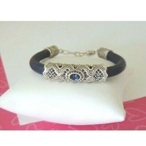 Brighton Aragon blue leather bracelet